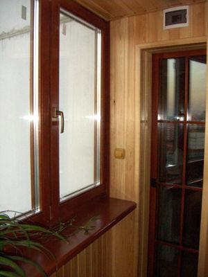 Дерево алюминиевые окна с подоконником